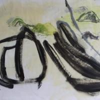 Beweging • acryl op acryl plaat met een ondergrond van geschept papier • 69x69cm