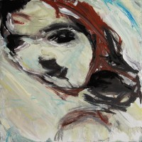 Portret • acryl op canvas • 30x30cm • met witte lijst