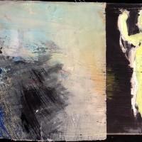 klein abstract werk op canvas • gedeeltelijk met 'los' doek hierop