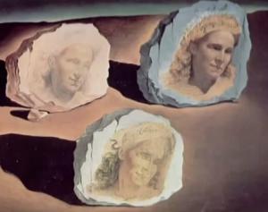 3x het portret van Gala op rotsblokken