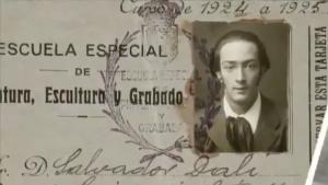Dalí student aan de kunstacademie in Madrid